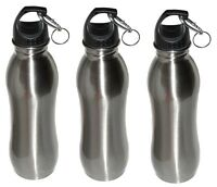 3 Pack - 25 oz - Wide Mouth - Stainless Steel Sports Water Bottle - Silver