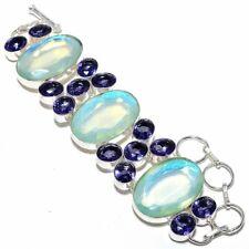 "Aqua Mystic Topaz, Amethyst Gemstone 925 Silver Jewelry Bracelet 7-8"" AQ-2218"