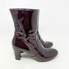 Women's Aquatalia Noelle Burgundy Red Patent Leather Heeled Boot Size 7