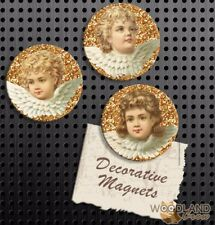Vintage Cherub Magnets, Set of 3 Handmade Fridge Magnets, Glitter Angel Gift Set