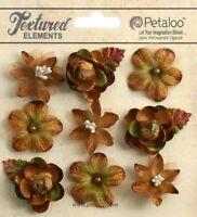 VINTAGE VELVET Textured Mini MOCHA Blossoms x 9 Fabric Flowers 25-30mm Petaloo C
