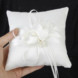 Satin Wedding   Pillow Page Boy   Bearer Cushion Pearl Flower 6