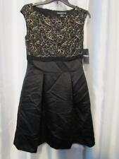 NWT American Living Lace W/ Gold Metallic Trim Satin Dress Black 6 Org $99