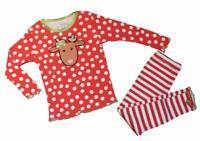 Sara's Prints Girls Baby Polka Dot Reindeer Christmas Pajamas Holiday Red Green
