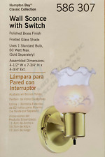 Hampton Bay Wall Sconce Light with Switch Polished Brass Frosted Glass Shade