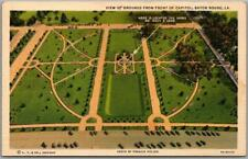 """1930s Baton Rouge, Louisiana Postcard """"View of Grounds from Front of Capitol"""""""