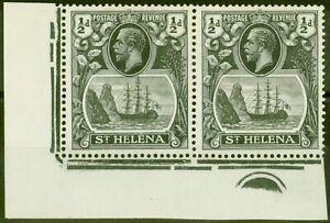 St Helena 1936 1/2d Grau-Schwarz & Schwarz SG97hc Cleft Rock V.F Leicht MTD