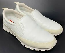 Authentic PRADA Logo Slip On Shoes Sneakers Men's #6.5 US 7 White Rank AB