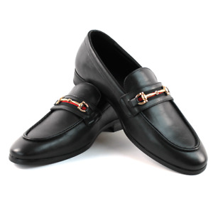 Men's Black Leather Slip On Gold Buckle Dress Shoes Loafers Formal By AZARMAN