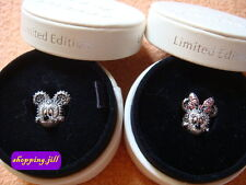 Pandora Disney Mickey & Minnie Mouse Pave Charm Limited Edition & Round Box
