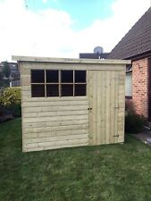 10x4 TANALISED T&G WOODEN GARDEN SHED FACTORY SECONDS GEORGIAN  PENT HUT FR