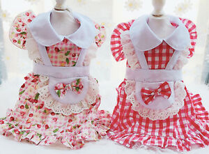 Sweet Classic Mait Dress For Small Medium Dog Cat Puppy Summer Chihuahua Clothes