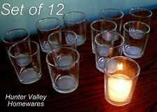 Set of 12 Glass Votive Candle Holders Tea Light Wedding Party Craft  Clear CG26