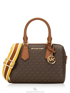 Michael Kors Hayes Small Duffle PVC Smooth Leather Satchel Bag-BROWN/LUGGAGE
