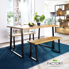 3 Piece Dining Table Set Wood Kitchen Room Home Furniture with 2 Bench Chairs