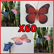Set of 60 Solar Powered Garden Decor Dancing Flickering Red Butterfly Stake