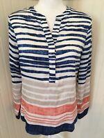 Chico's Size 00 XS/2 Blue White Orange Striped Blouse 1/2 Button Up VGC