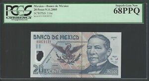 Mexico 20 Pesos 9-11-2005 P116e Uncirculated Graded 68