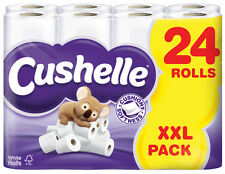 Cushelle Luxury Soft 2 Ply White Toilet Roll Tissue Paper - 24 Pack - FREE P&P