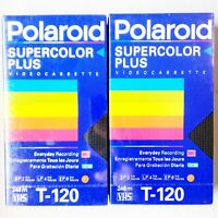 2 Polaroid Supercolor Plus Videocassette T-120 VHS Blank Video Tape New! Sealed!