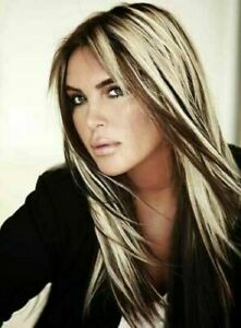 New Fashion Beautiful Blonde Brown Straight Long Natural Synthetic Wigs Hair