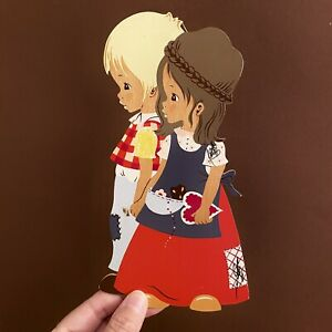 1960er Mertens-Kunst: SHABBY CHIC Kinder 20cm MÄRCHENHOLZBILD Mädchen Bluse Deko