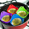 4× Silicone Egg Poacher Cook Poach Pods Poached Baking Cup Kitchen Cookware Tool