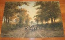 19th Century 24x36 Shepherd & Sheep on Road W/C-G.H. Flavelle