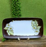 Vintage Hand Painted Daisy Sandwich Platter Plate Dish Rectangle Handmade