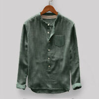 Mens Vintage Loose Casual Cotton Blends Shirts Stand Collar Long Sleeve Blouse