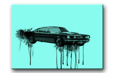 FORD MUSTANG AUTO CAR OLDTIMER KUNST LEINWAND BILDER BILD POP ART DEKO 7304 U