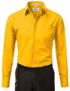 Berlioni Men's Dress Shirt Convertible French Cuffs GOLD