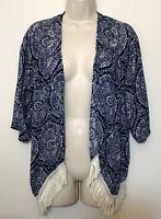 NWT Hollister Women's Small Kimono Cardigan Blue 3/4 Wide Sleeve Tassle Hem