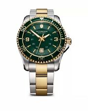 New Victorinox Swiss Army Maverick Men's Watch 241605 Two Tone Green Dial