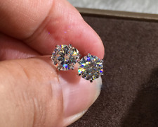 Earrings In 14k White Gold Over 3 Ct Brilliant Cut Moissanite Solitaire Stud