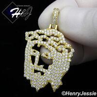 MEN 925 STERLING SILVER LAB DIAMOND BLING GOLD JESUS PENDANT*GP163