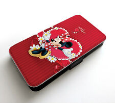 Minnie Mouse Polka White Dots Dress Flower Heart Line Wallet Leather Phone Case