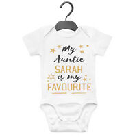 MY AUNTIE IS MY FAVOURITE PERSONALISED BABY GROW VEST CUSTOM FUNNY GIFT CUTE