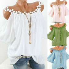 Womens Summer Tops Blouse Cold Shoulder Strappy Ladies Loose T Shirt