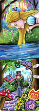 Alice in Wonderland Hooka Cheshire Cat Mad Hatter Double ACEO Painting Print