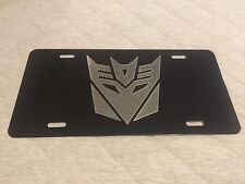 TRANSFORMERS DECEPTICON Logo Car Tag Diamond Etched on Aluminum License Plate