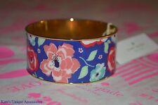 Kate Spade Multi floral Bangle bracelet flower blue enamel logo paper pink gold