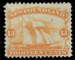 1865 Newfoundland SG29 13c Orange-Yellow Schooner Fine M/M Cat. £120.00