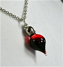 Gothic Goth Vampire Glass Tear Drop Blood Pendant Charm Necklace