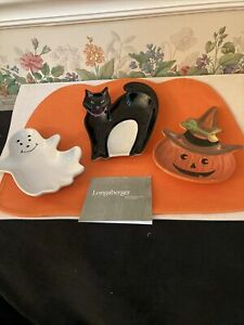 Longaberger STONEWARE POTTERY S/3 HALLOWEEN PARTY TREAT DISHES NEW/ORG BX #31858