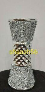 Crushed Crystal Diamond Silver Romany Bling Ceramic Vase S NEW