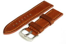 24MM Brown Leather Strap Stitched - High Quality - 120007