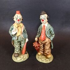 "Set 2 Ceramic Clown Figurines Hand Painted Standing Tie Bow Tie 7.5"" Tall #1"