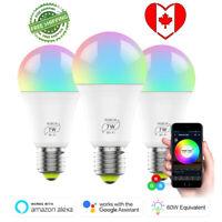 E27 Smart Wifi LED Bulb RGB Smart Colour light Dimmable for Alexa & Google CA