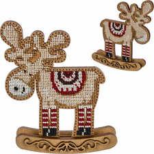 "DIY Christmas toy kit ""Deer"", Xmas tree beading embroidery, wood decor"